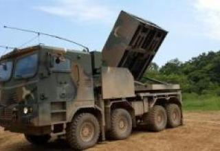 Experimental multiple launch rocket system K-MLRS Cheonmoo (Chunmoo)