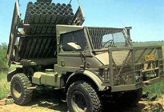 127 mm Valkiri Mk 1.22 multiple rocket launcher system.