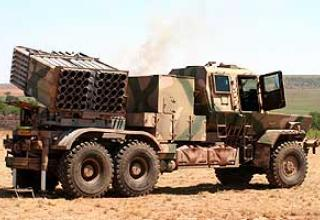 127 mm Valkiri Mk.II (Bataleur) multiple rocket launcher system.